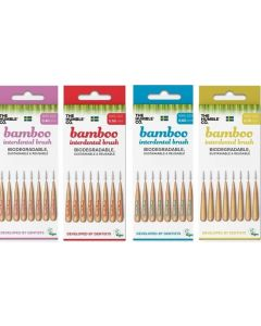 6 Escovilhões Interdentários com Cabo de Bambu