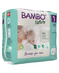 22 Fraldas Descartáveis Ecológicas Bamboo Nature 1 Newborn | 2-4 Kg