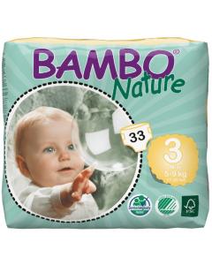 28 Fraldas Descartáveis Ecológicas Bambo Nature 3 Midi |4-8 Kg