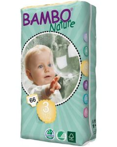 66 Fraldas Descartáveis Ecológicas Bambo Nature 3 Midi |5-9 Kg