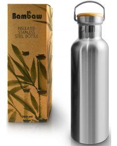 Garrafa Térmica em Inox e Tampa em Bambú 1L