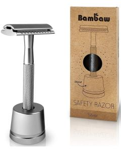 Máquina de Barbear em Metal Silver com base