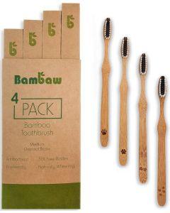 4 Escovas de Dentes em Bambú e Cerdas com carvão