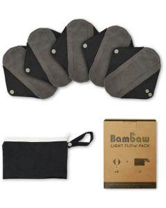 Pack 5 Pensos Higiénicos Reutilizáveis em Carvão de Bambú - Diário