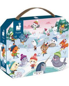 Puzzle 36 Peças com Caixa   Festa na Neve