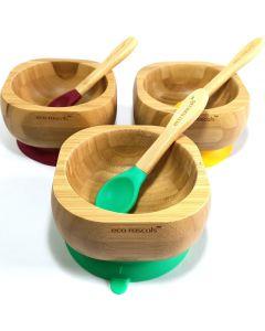 Taça e Colher em Bambú e Silicone