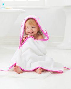 Toallha de banho com Capuz e Toalhita Fluro Pink