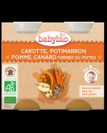 2 Boiões Menu do Dia Bio de Cenoura, Abóbora, Maçã e Pato