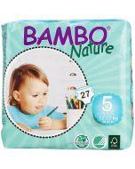 22 Fraldas Descartáveis Ecológicas Bambo Nature 5 Junior |12-18Kg