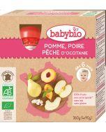 Pack 4 Purés de Frutas Bio Maçã, Pêra e Pêssego