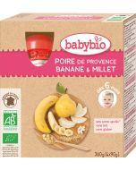 Pack 4 Puré de Frutas Bio Pêra, Banana Milho Miúdo